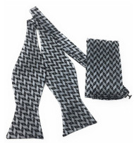Grey and Black Zig-Zag Self Tie Silk Bow Tie Set