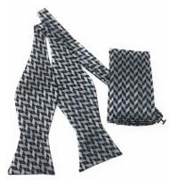Grey and Black Zig-Zag Self Tie Silk Bow Tie Set