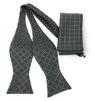 Charcoal Boxes Self Tie Silk Bow Tie Set
