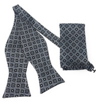 Black and White Box Design Self Tie Silk Bow Tie Set