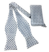 Navy Squares on Grey Self Tie Silk Bow Tie Set