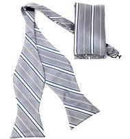 Grey Stripe Self Tie Silk Bow Tie Set