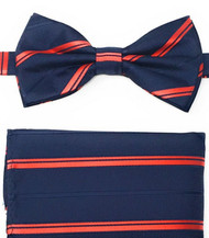 Red Stripe on Navy Pre-Tied Silk Bow Tie Set