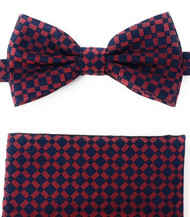 Red Windowpane on Navy Pre-Tied Silk Bow Tie Set