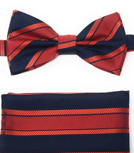 Red and Navy Regiment Stripes Pre-Tied Silk Bow Tie Set