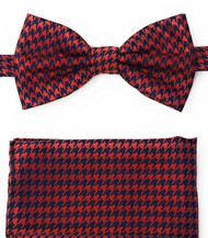 Red and Navy Houndstooth Pre-Tied Silk Bow Tie Set