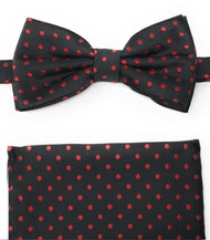 Red Polka Dots on Black Pre-Tied Silk Bow Tie Set