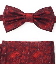 Dark Red Paisleys Pre-Tied Silk Bow Tie Set