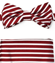 Dark Red and White Stripes Pre-Tied Silk Bow Tie Set
