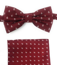 Dark Red with Fleur de Lis Symbols Pre-Tied Silk Bow Tie Set