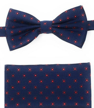 Red Squares on Navy Pre-Tied Silk Bow Tie Set