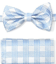 Light Blue & White Plaid Pre-Tied Silk Bow Tie Set