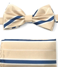 Blue Stripes on Ivory Pre-Tied Silk Bow Tie Set