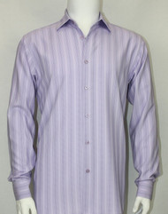 Bassiri Purple Faded Stripes Long Sleeve Camp Shirt