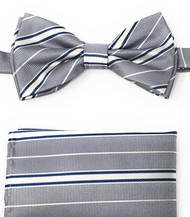 Grey, White and Blue Stripes Pre-Tied Silk Bow Tie Set