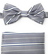 Grey, White and Blue Stripes Pre-Tied Silk Bow Tie Set