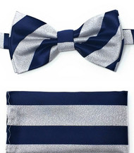 Grey and Blue Stripes Pre-Tied Silk Bow Tie Set
