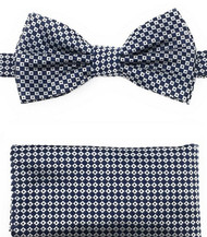 Silver and Blue Mini Squares Pre-Tied Silk Bow Tie Set