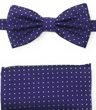 Purple and Grey Mini Square Design Pre-Tied Silk Bow Tie Set