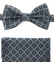 Black and White Square Design Pre-Tied Silk Bow Tie Set
