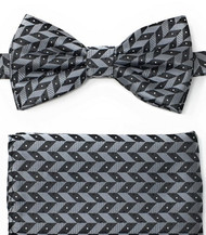 Silver and Black Zig-Zags Pre-Tied Silk Bow Tie Set