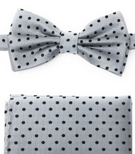 Black Polka Dots on Grey Pre-Tied Silk Bow Tie Set