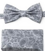 Grey Paisleys Pre-Tied Silk Bow Tie Set