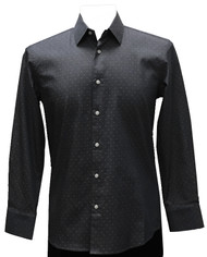 St. Cado Black Polka Dot Contrasting Cuff Fashion Shirt - Button Cuff