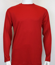 Bassiri Long Sleeve Ribbed Jersey Knit Tee - Red