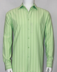 Bassiri Green Faded Stripes Long Sleeve Camp Shirt