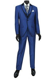 Vinci 3 Piece Fancy Blue and Navy Slim Fit Tuxedo or Suit