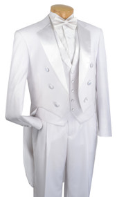 Vinci 3 Piece White Tuxedo with Tails - Classic Fit