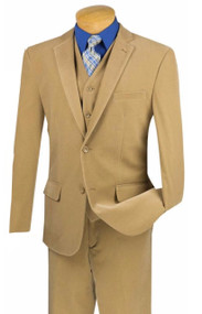 Vinci 2-Button Khaki Corduroy Suit with Vest - Slim Fit