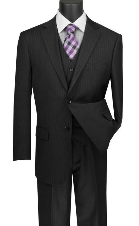 2a86332fc7a3 Vinci 2-Button Black Chalk Stripe Suit with Vest - Classic Fit ...