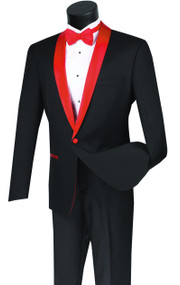 Vinci Red Shawl Collar Slim Fit Black Tuxedo