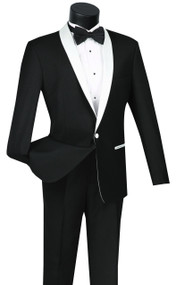 Vinci White Shawl Collar Slim Fit Black Tuxedo