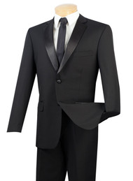 Vinci Classic Black 2-Button Tuxedo - Flat Front Slacks