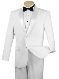 Vinci Classic White 2-Button Tuxedo - Flat Front Slacks