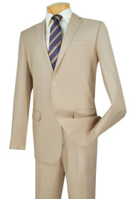 Vinci 2-Button Light Beige Classic Suit - Slim Fit
