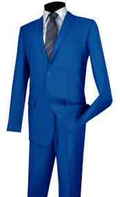 Vinci 2-Button French Blue Classic Suit - Slim Fit