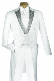 Vinci 4 Piece White Tuxedo with Tails - Cummerbund and Bow