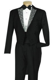 Vinci 4 Piece Black Tuxedo with Tails - Cummerbund and Bow