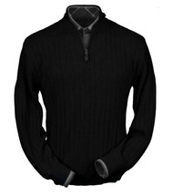 Peru Unlimited Baby Alpaca and Wool Half Zip Sweater - Black