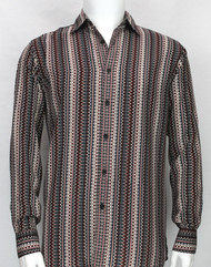Bassiri Burgundy Spiral Design Long Sleeve Camp Shirt