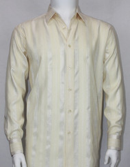 Bassiri Cream Ribbon Weave Long Sleeve Camp Shirt