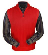 Peru Unlimited Baby Alpaca and Wool Half Zip Vest - Red