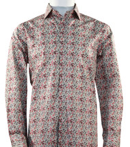 St. Cado Coral Mini-Floral Fashion Shirt - Button Cuff