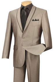 Vinci 1-Button Beige Sharkskin Suit with Shawl Collar