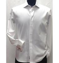 Antonio Martini White Herringbone Weave 100% Cotton Shirt - French Cuff