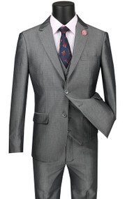 Vinci 2-Button Grey Sharkskin with Vest Suit - Ultra Slim Fit